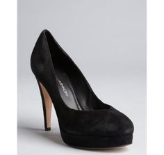 Rebecca Minkoff black suede pointed opening 'Dish' platform pumps #BlueFly