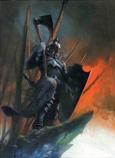 Original Comic Art titled Death Dealer, located in Manrico's Gabriele Dell'Otto Comic Art Gallery Fantasy Warrior, Fantasy Kunst, High Fantasy, Dark Fantasy Art, Fantasy Rpg, Medieval Fantasy, Fantasy Artwork, Fantasy Figures, Fantasy Characters