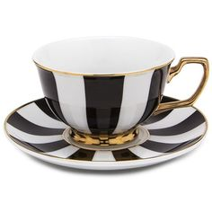 adorable tea sets ♥ Cristina Re - Age of Elegance Ebony Stripes Tea Cup & Saucer | Peter's of Kensington