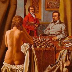 La partida de ajedrez de Napoleón v.s. Madame de Rémusat, obra del pintor húngaro Sándor Badacsonyi