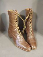 ANTIQUE VICTORIAN BROWN LACE UP BOOT WITH WINGFOOT GOODYEAR HEEL (S-18)