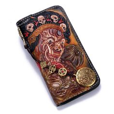 Overview: Design: Handmade Leather Mahākāla Mens Chain Biker Wallet Cool Leather Wallet With Chain Wallets for MenIn Stock: Ready to Ship(2-4 days)Include: On
