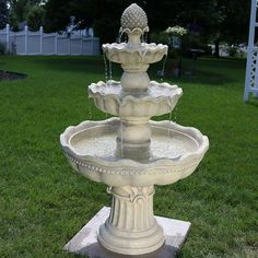 SunnyDaze Decor Fiberglass 4 Tier Pineapple Garden Fountain