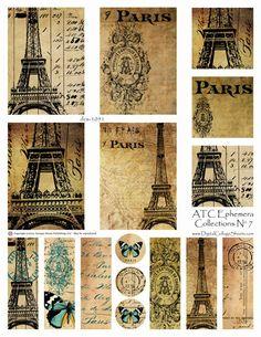 Instant Download  ATC French Digita lCollage Sheet  DCS-1151 DigitalCollageSheets Vintage Ephemera, Printables, Downloads