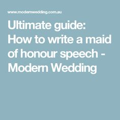 writing a maid of honour speech