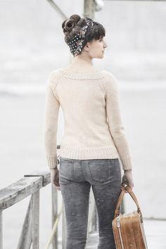 Not into the kerchief and curls, but the sweater silhouette in ivory is lovely.  || lesley