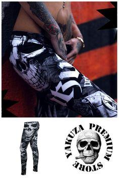Before 34,90€ Now 24,43€ ❤ Yakuza Premium Leggings Black & White.  ➡  http://www.hoodboyz.co.uk/product/p165109_yakuza-premium-my-dad-will-kill-you-leggings-black-white.html