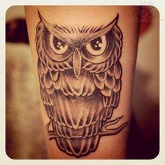 Remarkable owl tattoo - owl leg tattoo on TattooChief.com