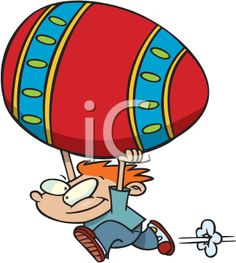 iCLIPART - Cartoon of a Boy Carrying a Gigantic Easter Egg