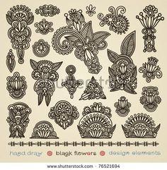 hand draw black flowers