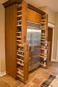 Built In Kitchen Pantry Around Refrigerator 15