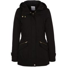 ONLY Winter coat (600 MXN) ❤ liked on Polyvore featuring outerwear, coats, jackets, casacos, tops, black, black coat, hooded coat, black hooded coat and print coat