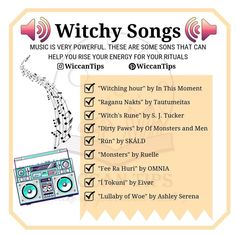 What's your favorite music genre? Do you use music in your craft? I tried to include songs from different genres so all of you could find Wiccan Spell Book, Wiccan Witch, Witch Spell, Green Witchcraft, Magick Spells, Witch Music, Witchcraft For Beginners, Eclectic Witch, Chakras