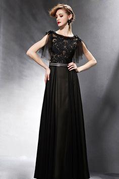 Elegant Modest Black Lace Boat Neck Prom Formal Dress with Sleeves 3d81331ec