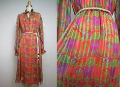 1970s hippie boho dress/ 70s chiffon silk dress/ poetic romantic/ ethnic/ medium- one size