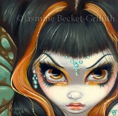 Faces of Faery 51 grumpy butterfly diamonds big eye fairy face art print by Jasmine Becket-Griffith 6x6 on Etsy, $13.99