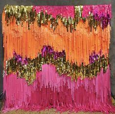 Fringe Backdrop - Bickiboo Designs orange and pink Streamer Backdrop, Wall Backdrops, Photo Booth Backdrop, Backdrop Ideas, Grad Parties, Birthday Parties, 17th Birthday, Disco Party, Backdrops For Parties