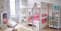 Merlin High Sleeper with Desk - Pink Star