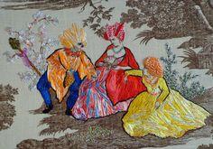 richard saja - embroidery on toile