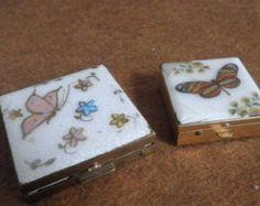 Enamel Kashmir Pill Box and Compact Butterfly Design