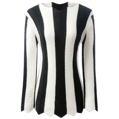 Black and White Striped Long Sleeve Jumper ($30) ❤ liked on Polyvore featuring tops, sweaters, stripe top, black and white striped sweater, striped jumper, black white striped sweater and black and white stripe top