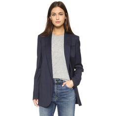 Equipment Hadley Blazer (8 270 ZAR) ❤ liked on Polyvore featuring outerwear, jackets, blazers, navy, navy blue jacket, navy pinstripe blazer, long sleeve jacket, pinstripe blazer and oversized blazer