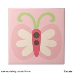 Pink Butterfly Small Square Tile