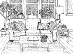 Window Seat Drawing Perspective Drawing Interiors Pinterest