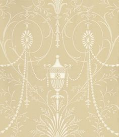 Marlborough (0273MACHAMP) - Little Greene Wallpapers - A large scale pattern, reminiscent of an early 20C interpretation of one of Robert Adam's designs. Shown here in neutral and champagne, very elegant and ornate damask. Please order sample for true colour match.