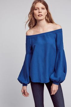 Poppy Bell Blouse - royal blue off the shoulder with bell sleeves