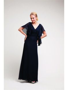 Sheath V Neck Ankle Length Mother Of The Bride Evening Party Long Prom Dress With Ruffle