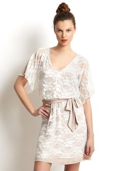 Casual Couture Kimono Sleeve Lace Dress - ideeli