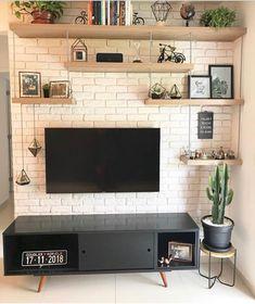 ✨ Essa parede já estava nos nossos planos há muito tempo. Living Room Tv, Home And Living, Living Room Shelves, Room Interior, Home Interior Design, Tv Wall Decor, Living Room Designs, Sweet Home, Bedroom Decor