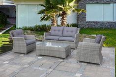 Salon de jardin BONHEUR en résine tressée. #canapé #outdoor | Salon ...