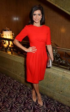 Pin for Later: Stars Rolled Out the Red (and the Black) Last Night Lucy Verasamy The TV weather presenter wore the Beulah London Hana dress (£420).