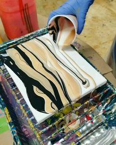 Simple Black, White, & Gold Palette - Fluid acrylic painting - All Primal Flow Acrylic Pouring Paints! Flow Painting, Pour Painting, Painting Videos, Oil Painting Abstract, Diy Painting, Abstract Art, Abstract Painting Techniques, Marble Painting, Acrylic Pouring Techniques
