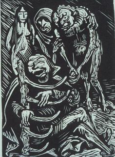 """Ernst Barlach (1870-1938) Illustration for Goethe's """"Walpurgisnacht"""""""