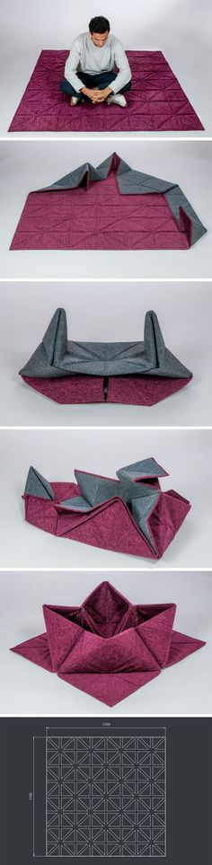 Unlike most rugs/carpets/mats that just become static pieces of furniture, proving functional someti. Origami Furniture, Home Furniture, Furniture Design, Elegant Home Decor, Elegant Homes, Carpet Mat, Rugs On Carpet, Industrial Design Sketch, Loft Interiors