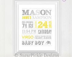 Personalized Nursery Art // Wall Art // Birth Announcement // Baby Shower Gift // Keepsake // Subway Art // Birth Stats // Birth Details by sugarpickledesigns. Explore more products on http://sugarpickledesigns.etsy.com