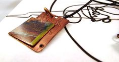 """Could be any corner - Handmade etched and enameled copper necklace - 18"""""""