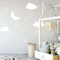 Wall Stickers Home Decor, Nursery Wall Decals, Vinyl Wall Stickers, Nursery Decor, Nursery Ideas, Nursery Art, Bedroom Ideas, Bedroom Decor, Clouds Nursery