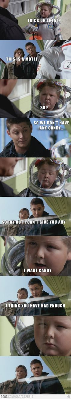 Astronaut! This is one of the funniest SPN scenes ever. Though, they skipped the part where Dean lies about having eaten all of the candy. #Supernatural