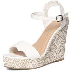 31193af634f6 Dorothy Perkins White  Ruby  Printed Wedges ( 45) ❤ liked on Polyvore  featuring