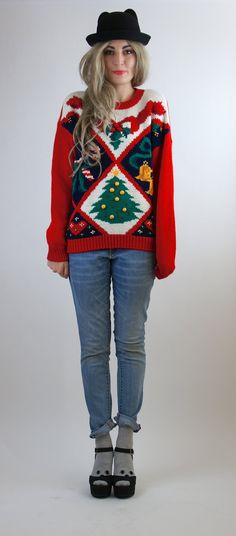 Merriest Christmas Sweater Ever / Bright Red by HotelBrahvoVintage