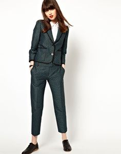 Boutique By Jaeger Slim Leg Trousers In Polka Dot