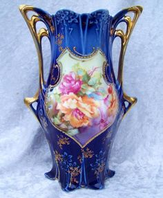 "RS Prussia Ornate Art Nouveau Shaped ""Red & Peach Roses"" 7-1/2"" Cobalt Vase"