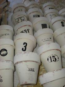 Vintage Chalk painted terra cotta pots