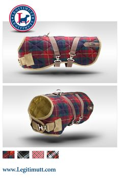 Gatsby Quilted Dog Coat in Red & Blue Tartan by LEGITIMUTT