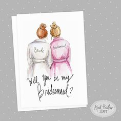 HAVE QUESTIONS? CHECK OUT OUR FAQ PAGE AND YOUTUBE VIDEO! http://www.aprilheatherart.com/shop/shop-faqs/ https://www.youtube.com/watch?v=5tyJkNU9bQs Will you be my bridesmaid? This elegant card is the perfect way to reach out to your BFFs and ask them to be part of your BIG day! This