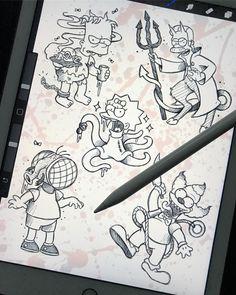 Lower Back Tattoos - Tattoo Designs Simpsons Tattoo, Simpsons Drawings, Simpsons Art, Cartoon Character Tattoos, Cartoon Tattoos, Anime Tattoos, Trippy Drawings, Doodle Drawings, Tattoo Sketches
